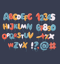 Colorful balloon font and alphabet vector