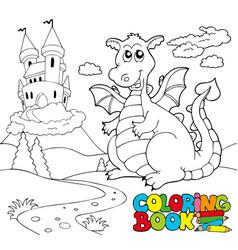 Coloring book with big dragon 2 vector