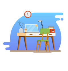 concept of workplace with computer and office vector image