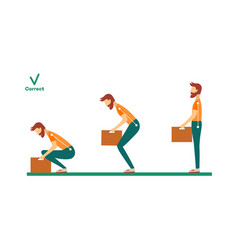 Correct spine man lifting weight vector
