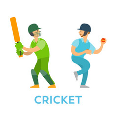 Cricket players people with bat and ball team vector