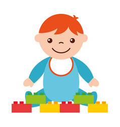 cute baby boy sitting with blocks toy vector image