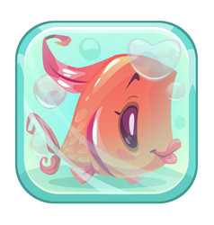 cute cartoon red fish behind the glass vector image