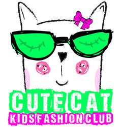 cute cat kids girl tee graphic design vector image