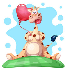 Cute funny giraffe with heart balloon vector