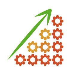 Data analysis graph gears growth arrow financial vector