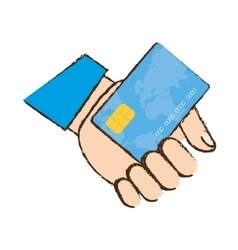 Drawing holding credit card bank vector