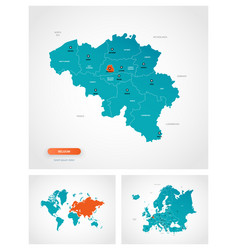 Editable template map belgium with marks vector