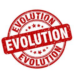 Evolution red grunge stamp vector