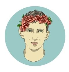 Face of the boy in flowers vector