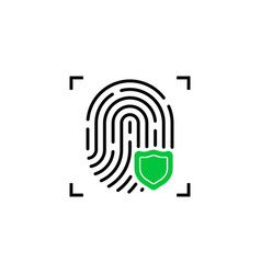 Fingerprint icon with green shield vector