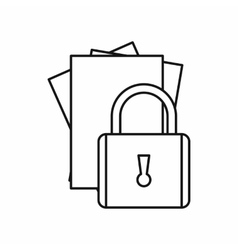 Folders with padlock icon outline style vector image