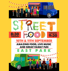 Food festival flyer with food alphabet vector
