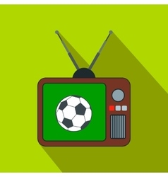 Football match on an old TV flat icon vector image