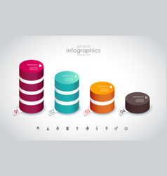 Four colored columns with place for your own text vector