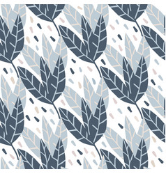 Geometric leaves seamless pattern on white vector