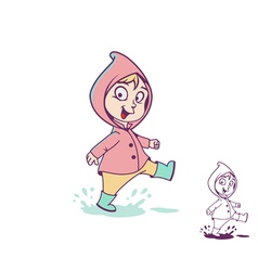 Girl in a puddle vector