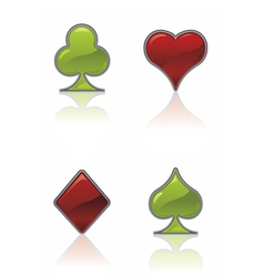 green and red card suit icons vector image