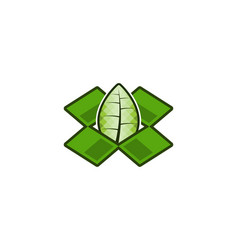 green box and leaf logo designs inspiration vector image