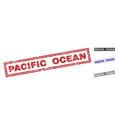 Grunge pacific ocean textured rectangle watermarks vector
