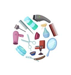 Hairdresser or barber cartoon elements in vector