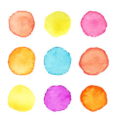hand painted watercolor circles set of vector image