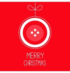 Hanging red button merry Christmas ball with bow vector image