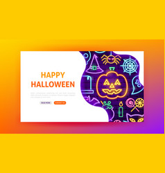 happy halloween neon landing page vector image