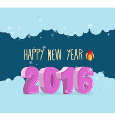 Happy new year 2016 Christmas greeting card vector