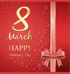 Happy womens day gold lettering on a pink festive vector