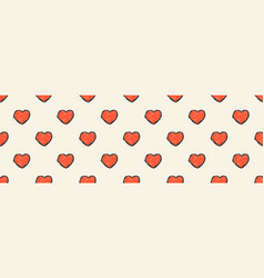heart background long banner hand drawn doodle vector image