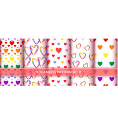 heart seamless pattern set love valentine romantic vector image
