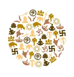 Hinduism religions symbols set of icons in circle vector