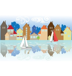Houses on the waterfront vector