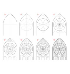 How to draw step-wise sketch gothic stained vector