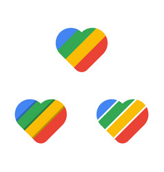 icons heart blue yellow red green love symbol vector image