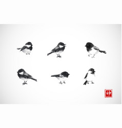 ink wash painting little black birds on white vector image