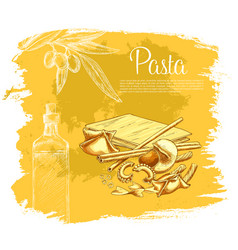 Italian pasta poster for restaurant vector