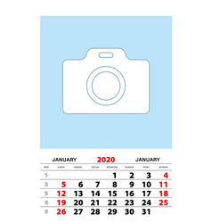 January 2020 calendar planner a3 size with place vector