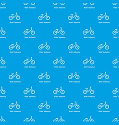 Kids balance bike pattern seamless blue vector