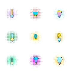 Lamp for home icons set pop-art style vector