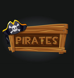 logo pirates on a wooden old board vector image