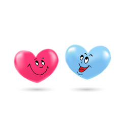 masculine and feminine hearts with emotions vector image