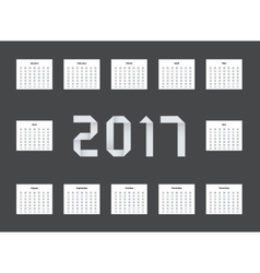 Modern calendar 2017 on black vector