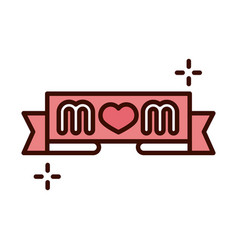 Mothers day lettering mom in banner decoration vector