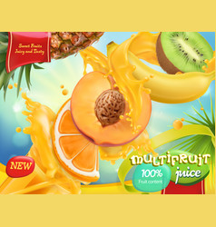 multifruit juice sweet tropical fruits 3d vector image
