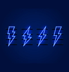neon sign lightning signboard on blue vector image