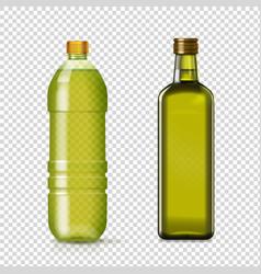 olive or sunflower oil glass plastic bottles vector image