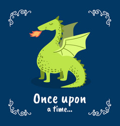 Once upon a time banner template fairytale dragon vector