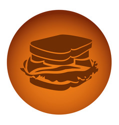 Orange emblem sandwich icon vector